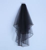 Wholesale Net Ribbon Yarn - Newest Elegant Two Laters Black Short Bridal Veils Satin Edge Bridal Wedding Veils Voile De Mariee Head Veils