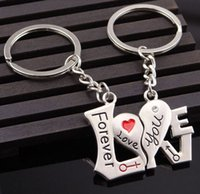 Wholesale Love Zinc Alloy Metal - Fashion Lovers Metal Keychain Forever love you Key Chain Christmas Gift Send girlfriend boyfriend Key ring car key keyring Heart Pendant