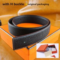 Wholesale Leather Belt Bag For Men - Top brand H Buckle belt with original box Card Dust bag real leather belt men women designer belts for wholesale retail luxury