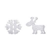 Wholesale christmas earrings for sale - 5 pairs Sterling Silver Stud Earrings for Women Christmas Gift Snowflake Deer Sterling silver jewelry Pendientes Mujer Moda