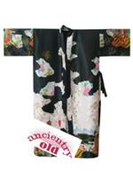 Wholesale Kimono Robe Xxl Women - Wholesale- Hot Sale Black Women Silk Rayon Robe Gown Japanese Yukata Kimono Gown Printed Nightwear Lingerie Size S M L XL XXL XXXL R002-D