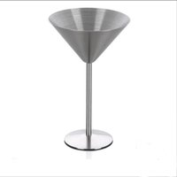 Wholesale Martini Cups - Stainless Steel Wine Cup Hanap Wine Glass Martini Champagne Cup Goblet Glass CCocktail Glass Cup Metal Bar
