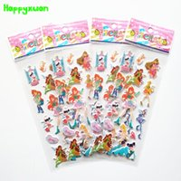 Wholesale Character Notebook - Happyxuan 50 sheets lot Cartoon Characters Winx Puffy Stickers Girl kids Toys PVC self-adhsive