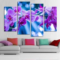 Wholesale Orchid Oil Painting Canvas - HD Painted Butterfly Orchid Oil Painting Modern Abstract Flowers 4 Panel Canvas Art Wall Decor Picture For Home Sets Tableaux