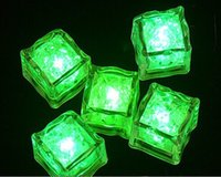 Wholesale Ice Cube Flashing Led Lights - Hot LED Light Ice Cubes Flash Liquid Sensor Water Submersible LED Glow Light Up for Bar Club Wedding Party Champagne Tower Party Decoration