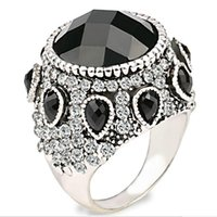 Wholesale Faceted Cabochon - Bohemia Gypsy ring Resin Imitation big Faceted Cabochon full rhinestone black Gem Persia agate ring Onyx obsidian rings for Women 2017 j373