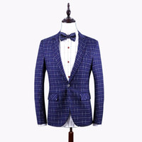 Wholesale Slim Fit Work Suit - 2017 Autumn New Fashion Men's Blazer Plus Size Plaid Blazer Mens Clothing Trend Casual Slim Fit Dress Suit Work Jacket Men 6XL