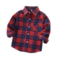 Wholesale Clothes Classic For Baby Boys - Baby Girls Boys Shirts 2017 Kids Fashion Baby Boy Clothes Spring Autumn Plaid Blouse Shirt for Girls Kids Cotton Shirt for Boys