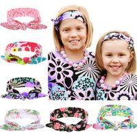 Discount baby girl bows diy - 64*5CM Baby Girls Headbands Bows DIY Kids Bunny Ear Floral Hairbands Turbans Infant Newborn Knot Elastic Cotton Hair Accessories KHA184