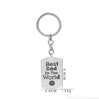 Wholesale Personal Key Chains - 'best dad in the world 'Custom Personal Key Tag engrave Lettering Metal Chain Key Ring Design Dad Men Couple Gift Keychain Jewelry