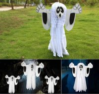 Wholesale Wholesale Paper Doors - Free shipping White Horrible Paper Hanging Ghost Foldable Fun Shroud Door Hallway Hanger Halloween Party Props Decorations Supplies
