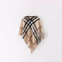 Wholesale Girls Hooded Capes - Baby Girls Plaid Poncho Shawl Tassels Capes England Style New Fashion Outerwear Western Children Fall Clothes