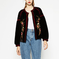 Wholesale Outwear Coat Flower - Wholesale- Women ZA Vintage Floral Pattern Embroidery Beading Beads Jacket Long Sleeve Velvet Coat Outwear YN-4506