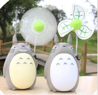 Wholesale Mini Plastic Fan - Creative Mini Hand Fan Portable Palm Totoro USB Charging Multifunctional Electric Fan Night Lamp Home Soft Mute Fan LED+PC 25*9cm AA+