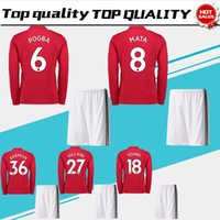 Men blind kit - POGBA Long Sleeve Soccer Jersey suit LUKAKU home red soccer shirt kit RASHFORD Football uniforms MARTIAL BLIND shirt shorts