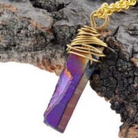 Wholesale Selling Stainless Steel Necklace Chain - Wholesale-Top Selling Natural Stone Necklace Crystal Druzy Pendant Rose Quartz Golden Plated Black Necklace For Women