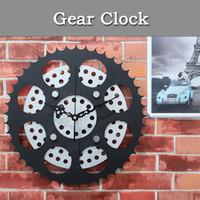 Wholesale Mechanical Wall Clock Gears - Mechanical Gear Wall Clock Antique Gear Original Clock Metal Texture Fashion Creative waLL Clock