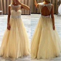 Wholesale Art Honey - Honey Qiao Evening Gowns Elegant Champagne Long Tulle 2017 Women Formal Pageant Dresses Crystal Beaded Prom Party Dresses