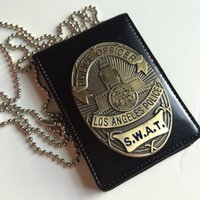 Wholesale Clips Badges - Los Angeles LAPD Thunderbolt Group SWAT metal Badge Leather Certificate clip can install driver's license
