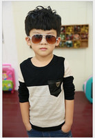 Wholesale Wholesale Boys Pocket T Shirts - 2017 New Arrivals Spring Autumn Boys T-shirts Fashion Boy Long Sleeve T-shirt Kids Cotton Tees Children Casual Tops With Pocket 5pcs lot