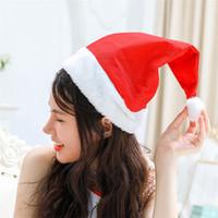 Wholesale Plush Santa Hats - New Christmas Supplies Cap Thick Ultra Soft Plush Santa Claus Christmas Hat 30*40cm Christmas Cap Santa Caus Hat IB504