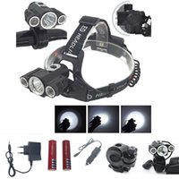 Wholesale Powerful Bike Lights - Portable Transformers powerful 3xT6R5 LED headlamp 18650 tactical 4-mode headlight 180 degree front bike bicycle lamp torch light