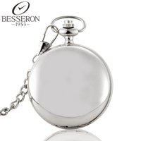 Wholesale Hollow Skeleton - Wholesale-Men Steampunk Pocket Watches Mechanical Silver Skeleton Necklace Pendant Chain Gent Reloj Hollow Carving Montre De Poche Homme