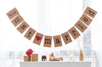 Wholesale 2017 High Quality Vintage Wedding Bunting Just Married Photo Booth Prop Banner Party Decorations Flag Banner Kraft paper with String