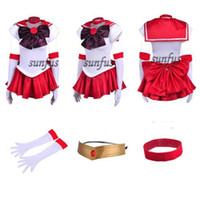 Wholesale Sailor Mars Cosplay Costume - New Sailor Moon SM Rei Hino   Sailor Mars Dress Cosplay Costume & petticoat