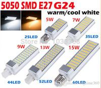 Wholesale E27 Corn Led Bulb 13w - 5W 7W 9W 13W 15W E27 G24 LED Corn Bulb Lamp Bombillas Light SMD 5050 Spotlight 180 Degree AC85-265V Horizontal Plug Light