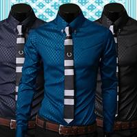 erkek gömlek giydirme stili toptan satış-Toptan-Mağaza 15Fashion Men Argyle Lüks İş Stil Slim Fit Uzun Kollu Casual Elbise Gömlek