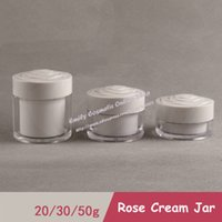 Wholesale Pastic Containers - 20pcs lot 20g Pastic White Rose Empty Cosmetic Jars for Cream Sample Container Packaging PJ20 7