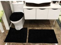 Wholesale Black Bathroom Toilets - Fashion black white 4-piece bathroom mats set shaggy brand new toilet bath mat 2-piece bath cover
