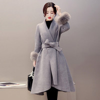Wholesale Long Pure Cashmere Coat Women - 2017 New Autumn Winter Long Fashion Women Slim Pure Color Real fur Woolen Coat Cashmere Woolen Plus size