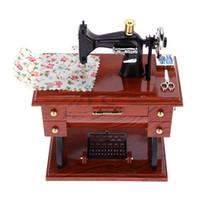 caja de música clásica al por mayor-Máquina de coser Music Box Retro estilo pastoral joyero clásica máquina de coser modelo