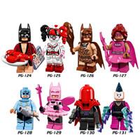 brinquedos batman para crianças venda por atacado-DHL 60 Conjunto Super Heróis Poder Rosa Batgirl Capa Vermelha Fada Batman Mime Harley Quinn Building Blocks Tijolos Crianças Brinquedos PG8040