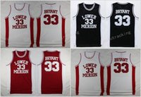Wholesale Low Shirts - Cheap Kobe Bryant Lower Merion High School Basketball Jersey 33 Team Red White Black Kobe Bryant Basketball Shirts Stitched
