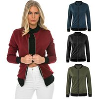 Wholesale Stand Up Collar Jackets - women basic coats Celeb Bombers Stand Up Collar Zip Short Black Autumn Coat Jackets Chaquetas Mujer XL