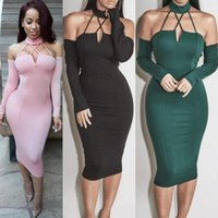 Wholesale Ladies Hot Red Night Dress - Women Bodycon Bandage Dress New Sexy Red Green Black Hang Neck Backless Hot Lady Dance Party Dress Casual Vestidos #001 52