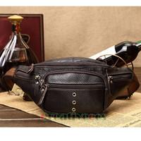Wholesale Leather Sling Pillow - Men Genuine Leather Casual Travel Riding Motorcycle Messenger Shoulder Sling Chest Hip Bum Belt Fanny Pack Waist Bag