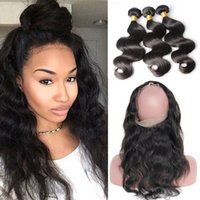 Wholesale Weaved Hair Bands - Pre Plucked Brazilian Body Wave Hair Weaves With 360 Lace Band Frontal Virgin Human Hair With Bady Hair 4pcs lot