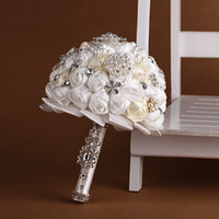 Wholesale Girl Holding Roses - Ivory 2017 Pearls Glass Crystal Rose Women Wedding Holding Flowers Beads Lady Big Girls Bridal Rhinestones Bridal Bridesmaid Bouquets