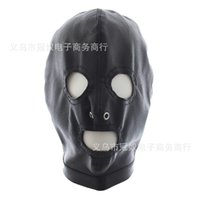 Wholesale Men Erotic Toys - Top Grade Leather Black Spandex Sex Mask Open Eyes Mouth Fetish Bondage Mask Party Erotic Toys Adult Games Sex Toys for Couples