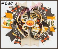 Wholesale Thanksgiving Boutique Bows Wholesale - free shipping 30pcs halloween boutique hair bows thanksgiving bows fall hair bows turkey candorn hair bow