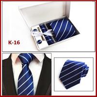Wholesale Men Stripe Neck Ties - Men Neck Tie Set Paisley Handmade Necktie Men's Stripes Silk Tie Wedding Accessorie Suit Business Tie (Tie+Tie Clips+Cufflinks+Hanky+Box)