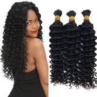 Wholesale Deep Hair Braiding - Deep Wave Human Braiding Hair Bulk Malaysian 3 Bundles Natural Color Hair Bulk No Attachment G-EASY
