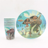 Wholesale Wholesale Paper Tableware - Wholesale- children new moana birthday party tableware set disposable paper cups and plates lot of 20pcs