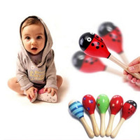Wholesale Wood Baby Mobile - Wholesale- 1Pcs Wooden Maraca Wood Rattles Kids Musical Party favor Child Baby shaker Toy Hot Baby Baby Rattles Mobiles #10