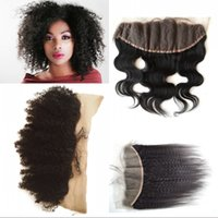 Wholesale Swiss Frontal - G-EASY Mongolian afro kinky curly lace frontal 13*4 virgin human hair afro hair swiss lace for african american BW Kinky Straight Closure
