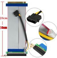 Wholesale Pci Express X16 Extender - Riser PCI-E x16 pcie pci Express 16X to 16x Riser Extender Card with Molex IDE Power Ribbon Cable adapter 20cm - 35cm*100pcs lot